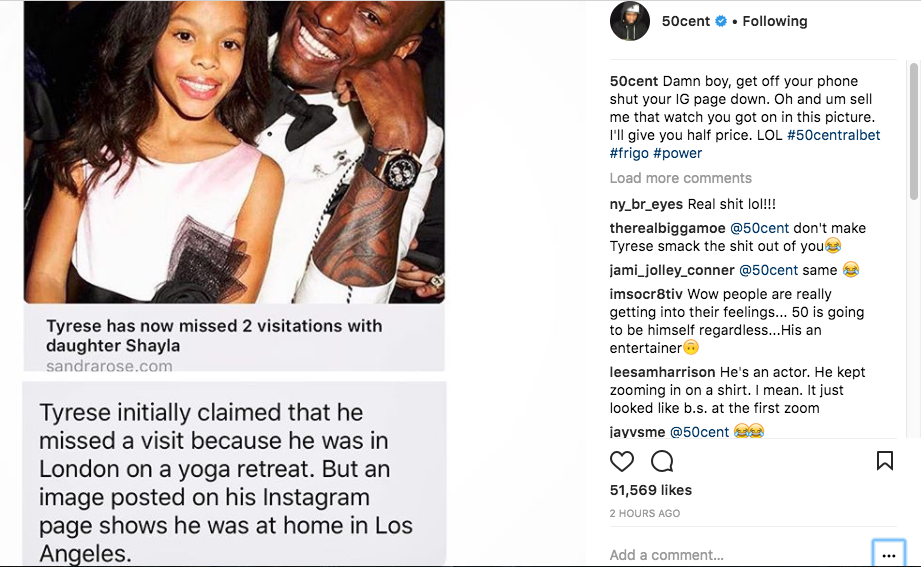 50 Cent fers to buy Tyrese watch for half price helping his money problem