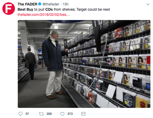Major lost for the music industry as Best Buy will stop selling physical CD's -