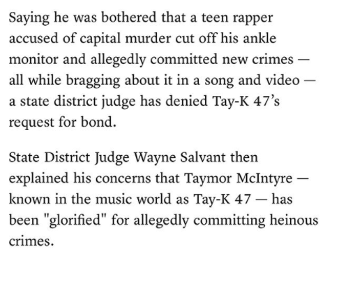 "Tay K bond is denied by Judge who cited Tay K bragged in his hit song ""The Race"" about running from the law -"