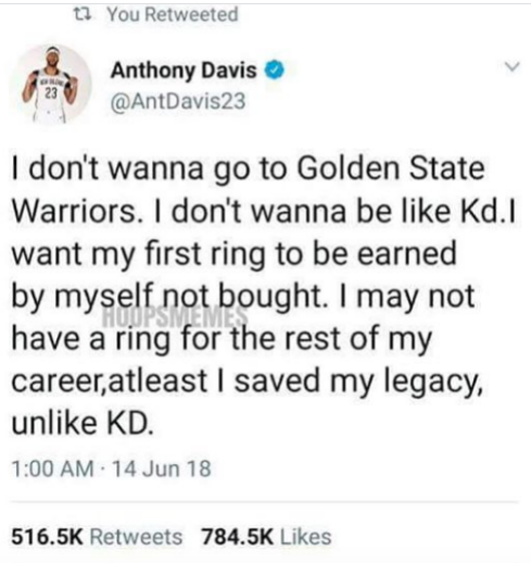 Anthony Davis tweets he will not go to Golden State Warriors like Kevin Durant and be a sucker - HipHopHotness.com