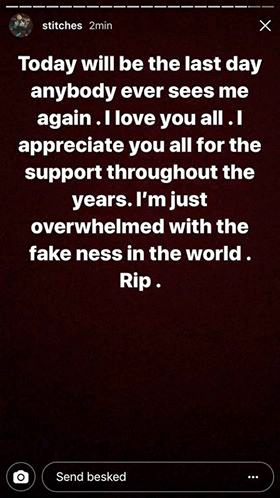 Miami rapper Stitches says he will commit suicide on his instagram account -