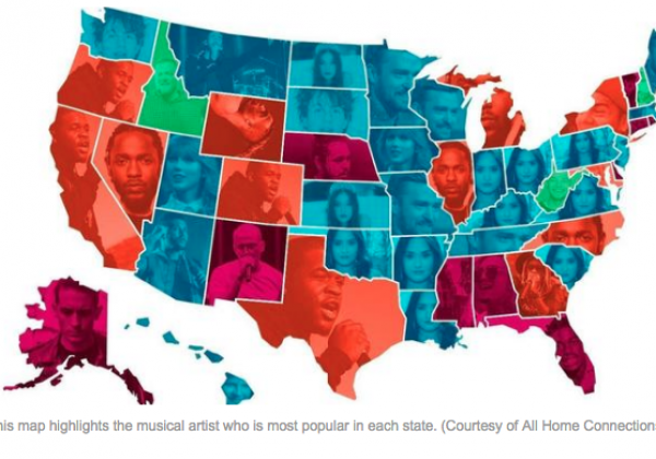 every states most listened to artist on spotify is revealed state by