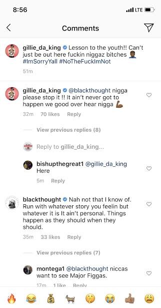 Gillie Da King says Black Thought left him f The Roots picnic 2020 for having *** with one  they girls