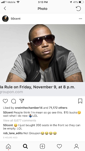 50 Cent buys 200 front row seats to Ja Rule concert f groupon so it will be empty - HipHopHotness.com