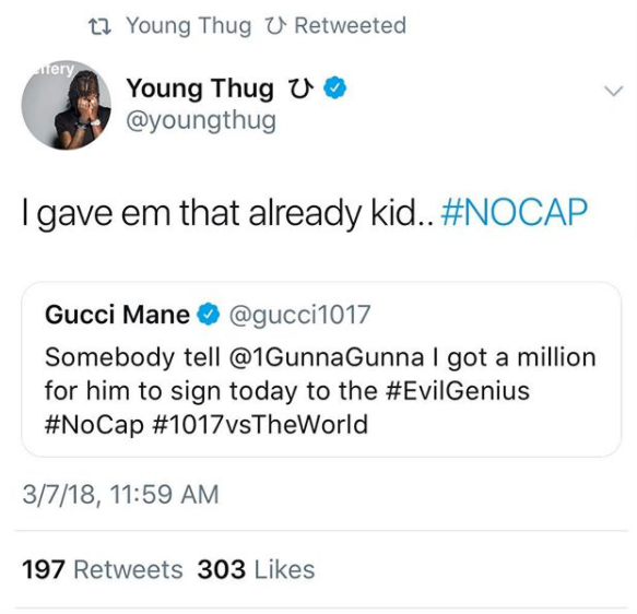 Gucci Mane fers Young Thug's artist Yung Gunna $1 Million dollars to leave YSL and sign with 1017 -