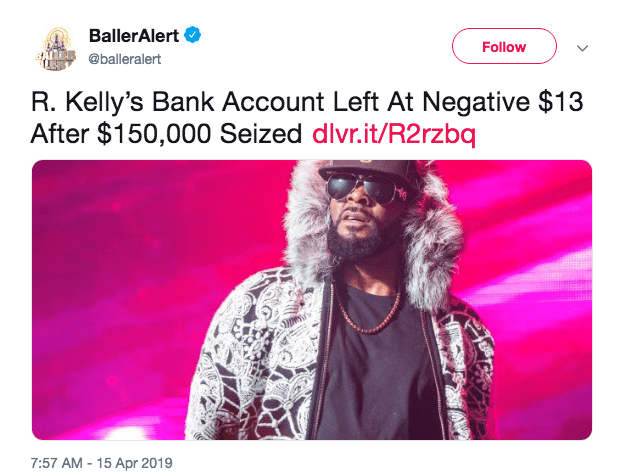 Court Documents reveal R. Kelly only has $650 dollars to his name