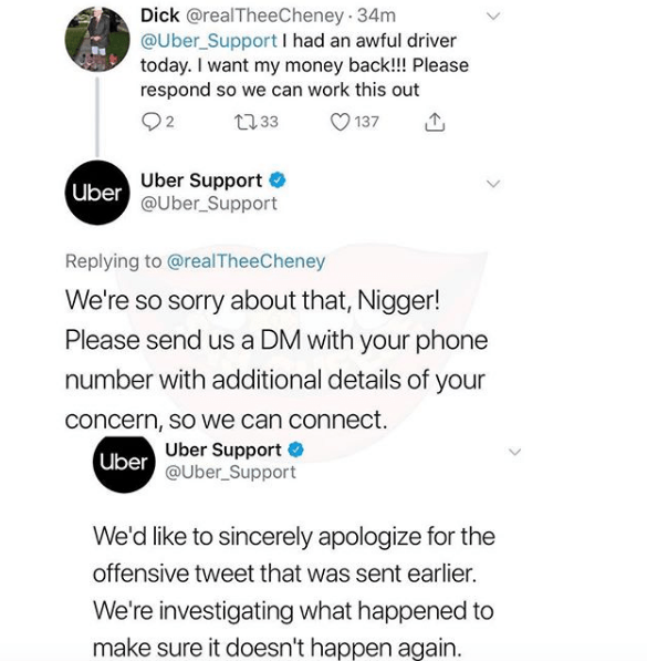 Uber Support tweets a customer calling them a Nigger