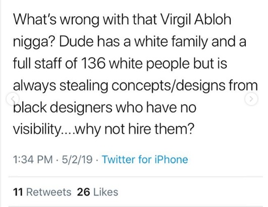 Fashion icon designer Virgil Abloh called out for not hiring one black person at his OffWhite company