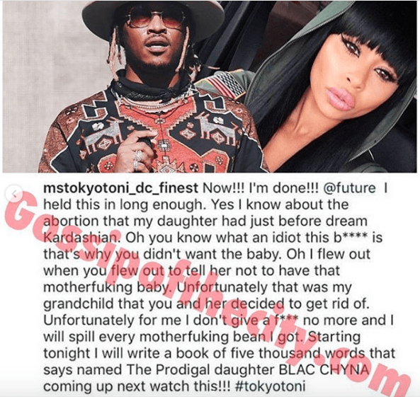 Blac Chyna's Mom Tokyo Toni exposes Chyna claiming Future forced her to have an Abortion after he got her pregnant