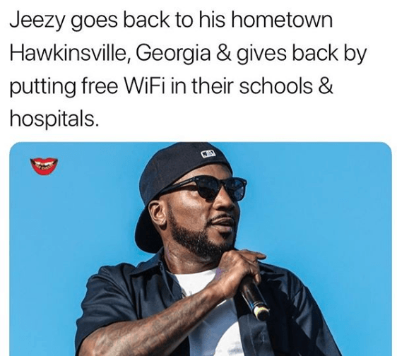 Jeezy pays for free Wifi in his hometown schools and hospital