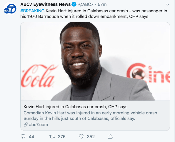 Kevin Hart rumored to be in Critical condition after his total his 1970 Barracuda in Calabasas