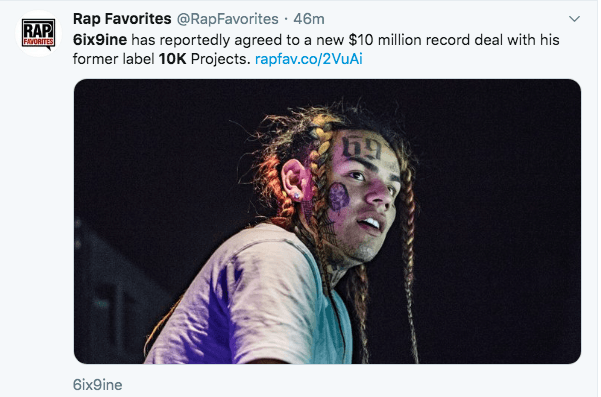 6ix9ine signs $10 Million dollar 2 album deal with former label 10K Projects