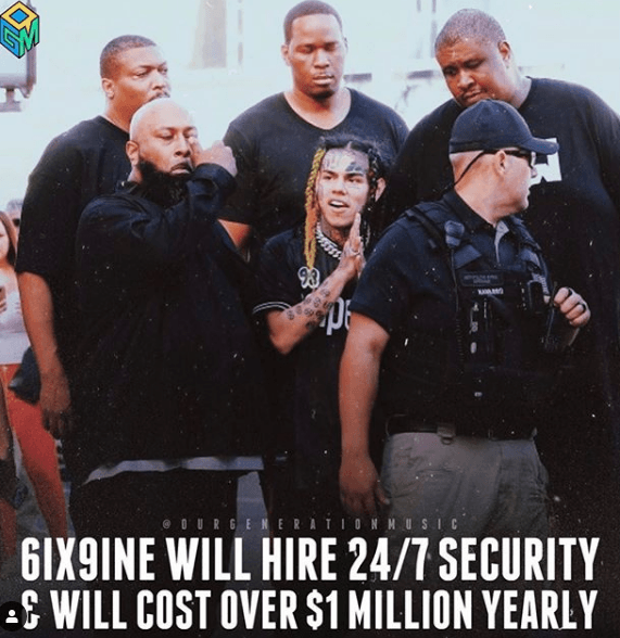 6ix9ine will hire Floyd Mayweather Jr's The Great Wall security team for 24 Hours a day and pay them $1.5 Million dollars a year