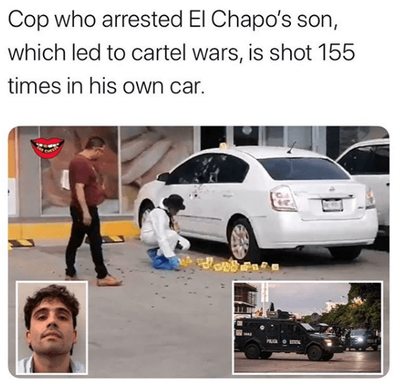 Graphic video  Sinaloa Cartel shooting 150 shots and killing cop who arrested EL Chapo's Son