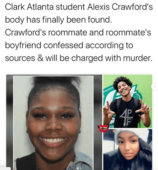 Clark Atlanta student Alexis Crawford body found after roommate & roommates Boyfriend killed her for not doing a Threesome with them