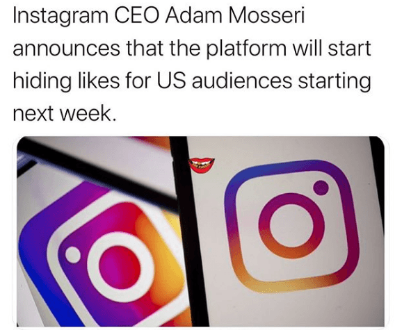 Instagram CEO Adam Mosseri announces Likes and Views will no longer be visible starting next week