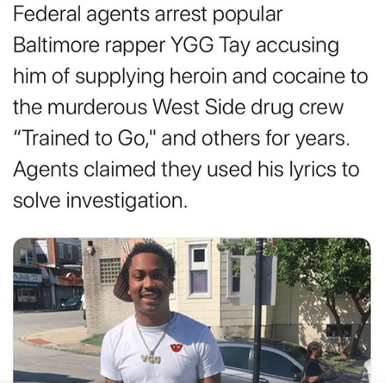Popular Baltimore rapper YGG Tay arrested for running Drug Empire FEDs say his music helped them build case