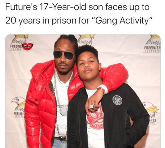 Future's 17 year old son Jakobi Wilburn arrested for being in gang facing 20 years in prison