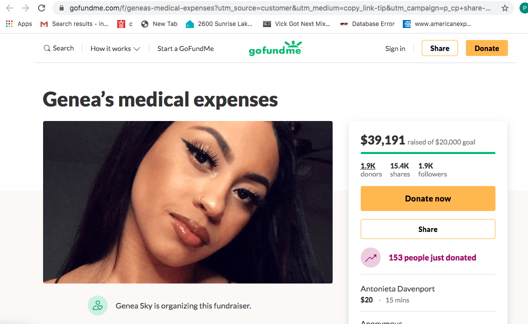Dallas Stripper Gene Sky who fell 15 feet from pole go fund me page has raised $40,000 for her injuries