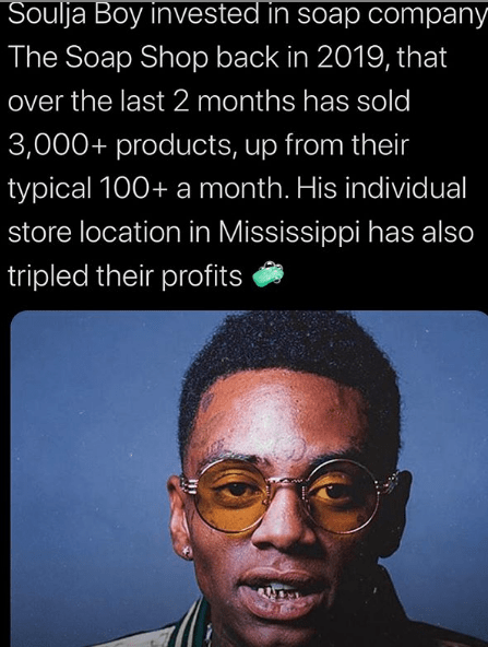 """Soulja Boy prits Millions  dollars f his """"The Soap Shop"""" investment thanks to the Corona Virus outbreak"""