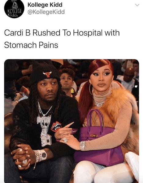 Cardi B rushed to hospital her team fears she has the Corona Virus aka Covid19