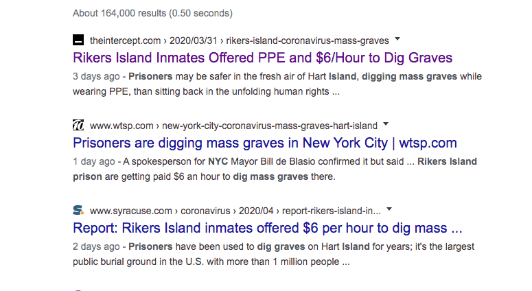 Rikers Island Prisoner are being fered $6 an hour and PPE if they dig mass graves for CoronaVirus victims