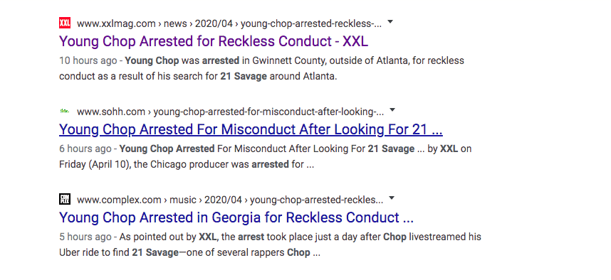 Young Chop arrest records reveal that 21 Savage management had Chop arrested because he was riding around looking for 21 Savage with gun