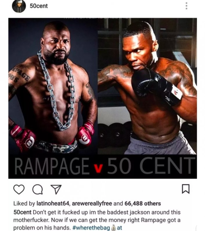50 Cent and Rampage Jackson negotiating to fight each other for $50 Million  Bellator -