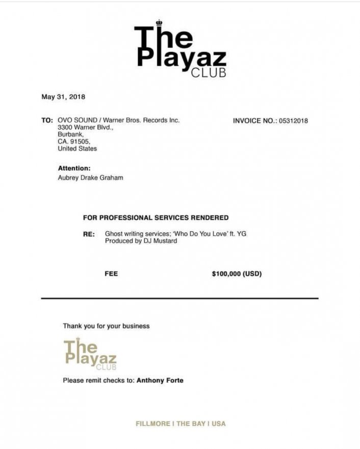 Rappin 4-Tay sends Drake a invoice for $100,000 dollars for stealing lyrics f Playaz Club for Who Do you love - HipHopOverload.com